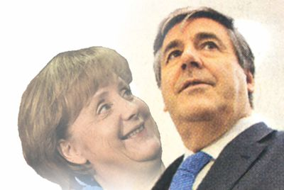 Merkel himmelt ihren jüdischen Chef Ackermann an!