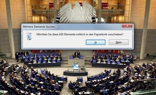 Bundestag in den Papierkorb verschieben