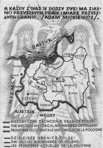 """Auf Postkarten der polnischen Volksbüchereien vom Juni 1939 war das zu erobernde deutsche Gebiet schon offiziell dargestellt worden. Eine dicke Linie zeigte die """"historische Westgrenze Polens"""". Das polnische Territorium umfasste auf der offiziellen Postkarte die Slowakei, Tschechien, Schlesien, Pommern, Westpreußen und Ostpreußen und grenzte bis an Berlin und Dresden. Die dünne Linie markierte die """"heutige Westgrenze Polens"""" (Juni 1939)"""