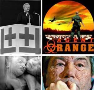"""Richard von Weizsäcker war Giftgashändler für den Vietnamkrieg. Während er als Präsident der """"Evangelischen Kirchentage"""" nach """"Antworten durch die Bedrohungen durch Vernichtungswaffen"""" suchte, lieferte er den Amerikanern genau diese Giftwaffen. Millionen von Opfern störten ihn nicht, der Profit war ihm wichtiger. Gleichzeitig verdammte er die Deutschen für Verbrechen, die er und seine Hinterleute frei gegen uns erfunden haben."""